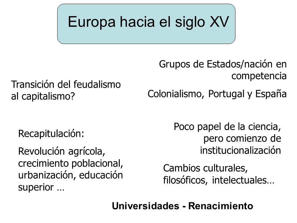 Europa hacia el siglo XV Grupos de Estados/nación en competencia Colonialismo, Portugal y España Transición del feudalismo al capitalismo? Recapitulac