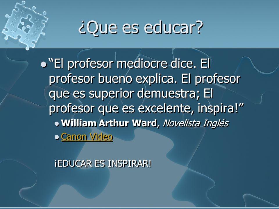 ¿Que es educar? El profesor mediocre dice. El profesor bueno explica. El profesor que es superior demuestra; El profesor que es excelente, inspira! Wi