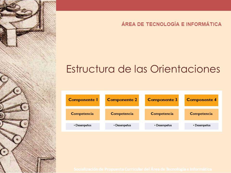 Socialización de Propuesta Curricular del Área de Tecnología e Informática ÁREA DE TECNOLOGÍA E INFORMÁTICA Estructura de las Orientaciones