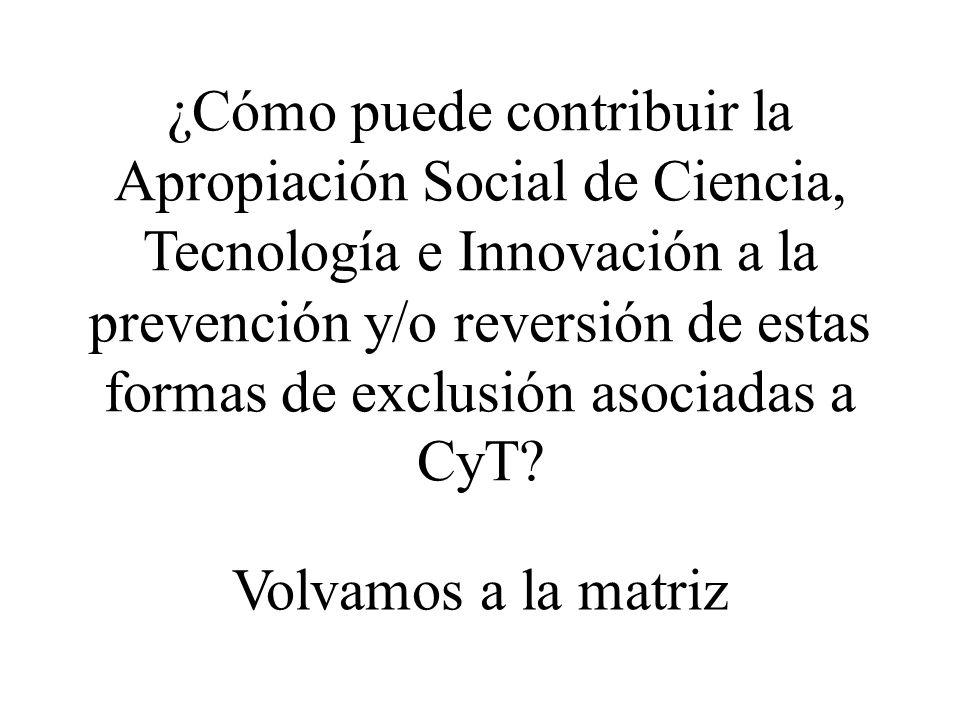 ¿Cómo puede contribuir la Apropiación Social de Ciencia, Tecnología e Innovación a la prevención y/o reversión de estas formas de exclusión asociadas