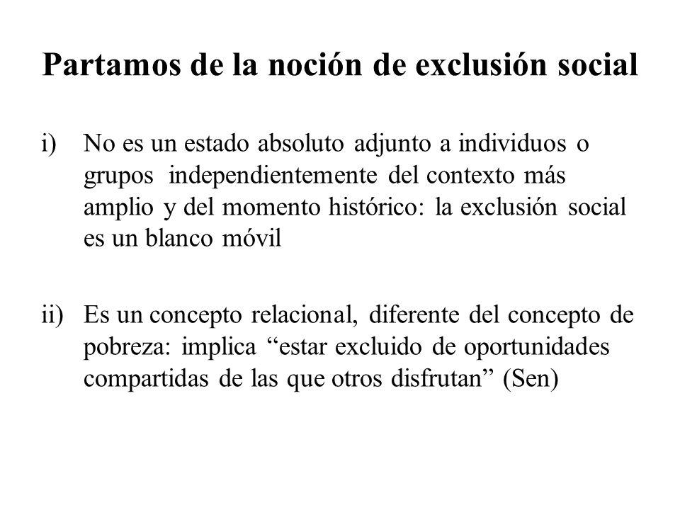 Partamos de la noción de exclusión social i)No es un estado absoluto adjunto a individuos o grupos independientemente del contexto más amplio y del mo