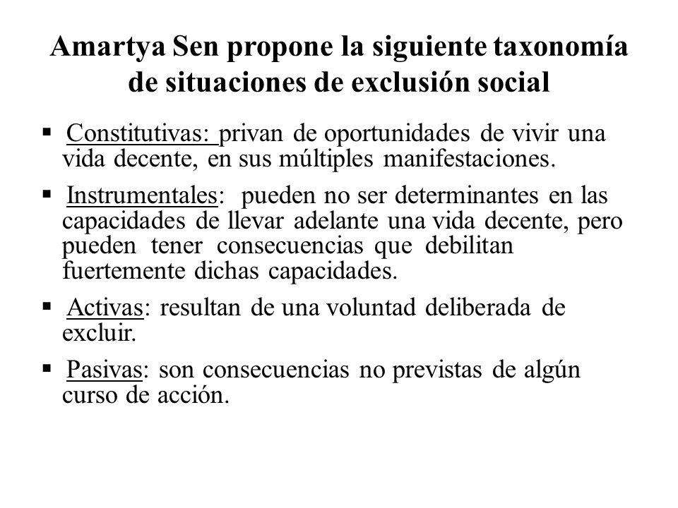 Amartya Sen propone la siguiente taxonomía de situaciones de exclusión social Constitutivas: privan de oportunidades de vivir una vida decente, en sus