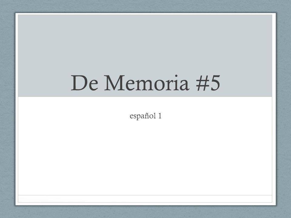 De Memoria #5 español 1