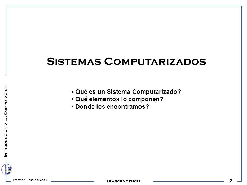 2 Profesor: Eduardo Peña J. Sistemas Computarizados Trascendencia Introducción a la Computación Qué es un Sistema Computarizado? Qué elementos lo comp