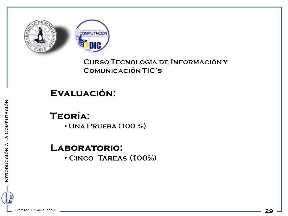 29 Evaluación: Teoría: Una Prueba (100 %) Laboratorio: Cinco Tareas (100%) Profesor: Eduardo Peña J. Introducción a la Computación Curso Tecnología de