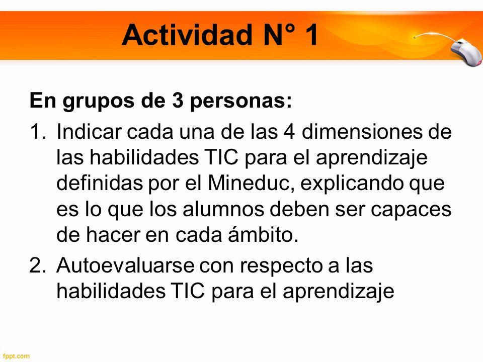 Actividad N° 1 En grupos de 3 personas: 1.Indicar cada una de las 4 dimensiones de las habilidades TIC para el aprendizaje definidas por el Mineduc, explicando que es lo que los alumnos deben ser capaces de hacer en cada ámbito.