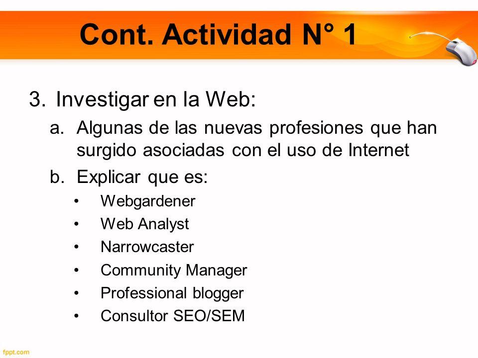 Cont. Actividad N° 1 3.Investigar en la Web: a.Algunas de las nuevas profesiones que han surgido asociadas con el uso de Internet b.Explicar que es: W