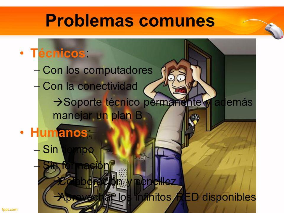 Problemas comunes Técnicos: –Con los computadores –Con la conectividad Soporte técnico permanente y además manejar un plan B Humanos: –Sin tiempo –Sin