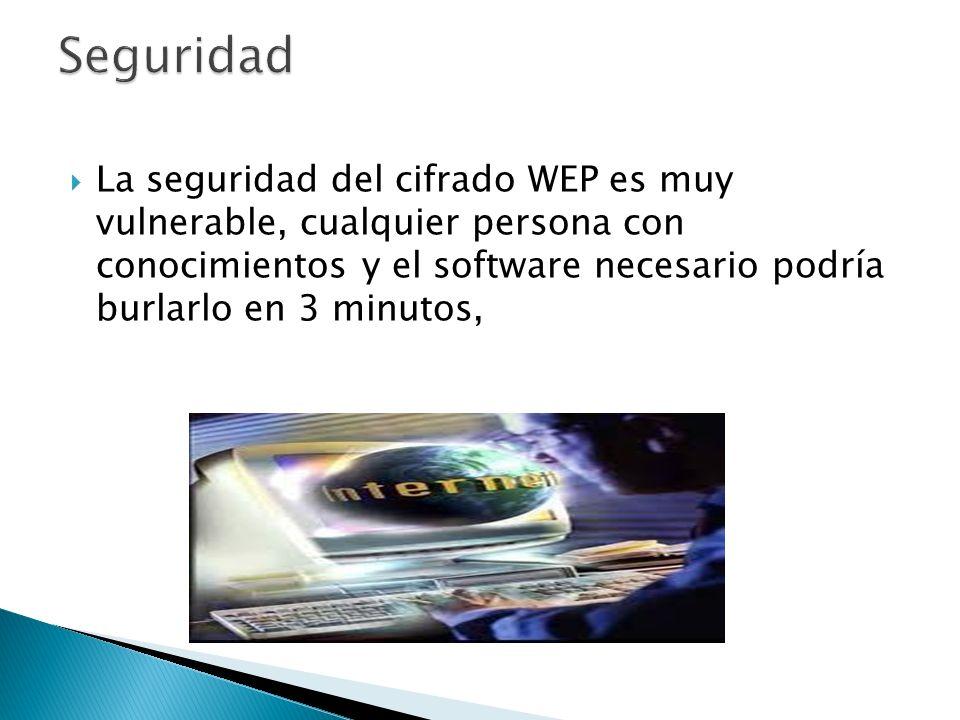 La seguridad del cifrado WEP es muy vulnerable, cualquier persona con conocimientos y el software necesario podría burlarlo en 3 minutos,