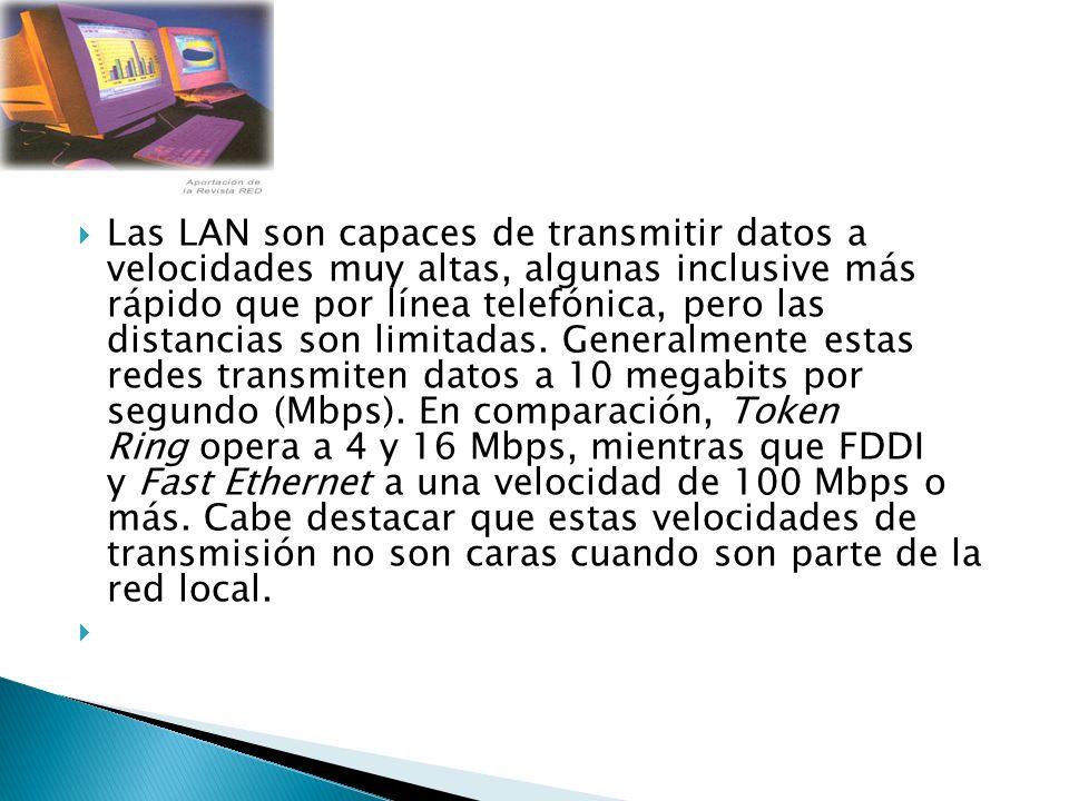 Las LAN son capaces de transmitir datos a velocidades muy altas, algunas inclusive más rápido que por línea telefónica, pero las distancias son limita