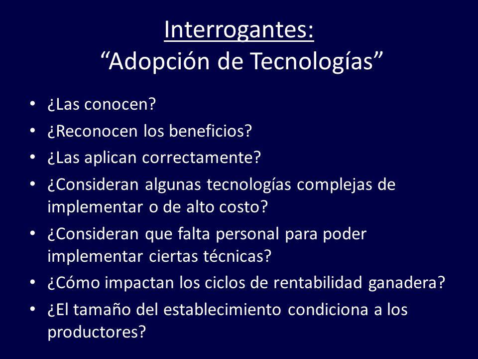 Interrogantes: Adopción de Tecnologías ¿Las conocen? ¿Reconocen los beneficios? ¿Las aplican correctamente? ¿Consideran algunas tecnologías complejas
