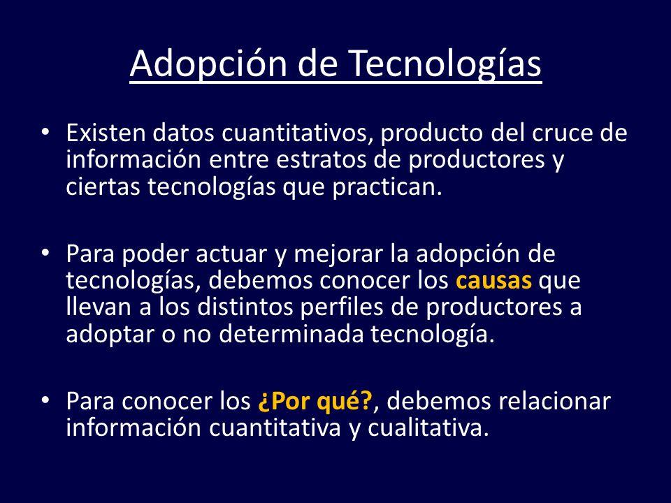 Adopción de Tecnologías Existen datos cuantitativos, producto del cruce de información entre estratos de productores y ciertas tecnologías que practic