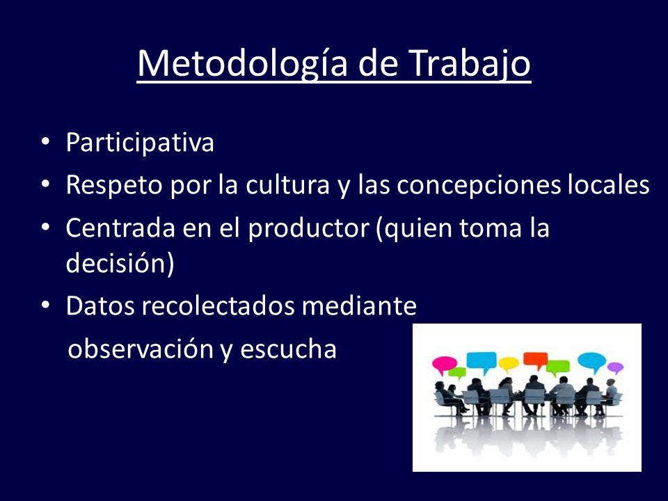 Metodología de Trabajo Participativa Respeto por la cultura y las concepciones locales Centrada en el productor (quien toma la decisión) Datos recolec