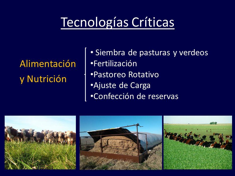 Tecnologías Críticas Alimentación y Nutrición Siembra de pasturas y verdeos Fertilización Pastoreo Rotativo Ajuste de Carga Confección de reservas