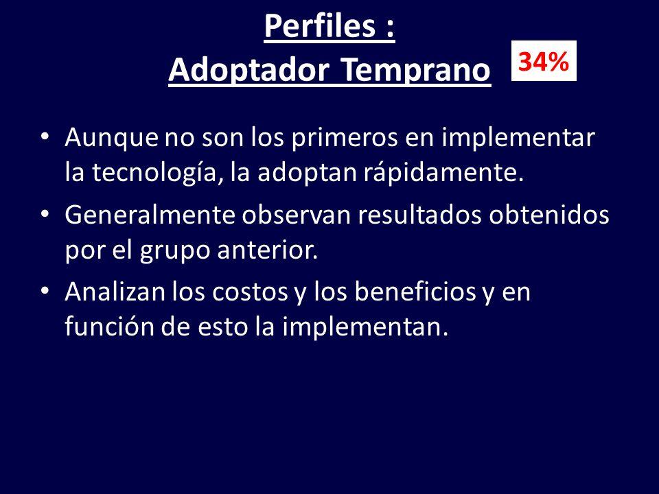 Perfiles : Adoptador Temprano Aunque no son los primeros en implementar la tecnología, la adoptan rápidamente. Generalmente observan resultados obteni