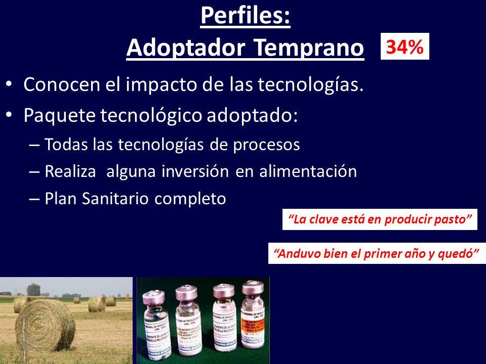 Perfiles: Adoptador Temprano Conocen el impacto de las tecnologías. Paquete tecnológico adoptado: – Todas las tecnologías de procesos – Realiza alguna