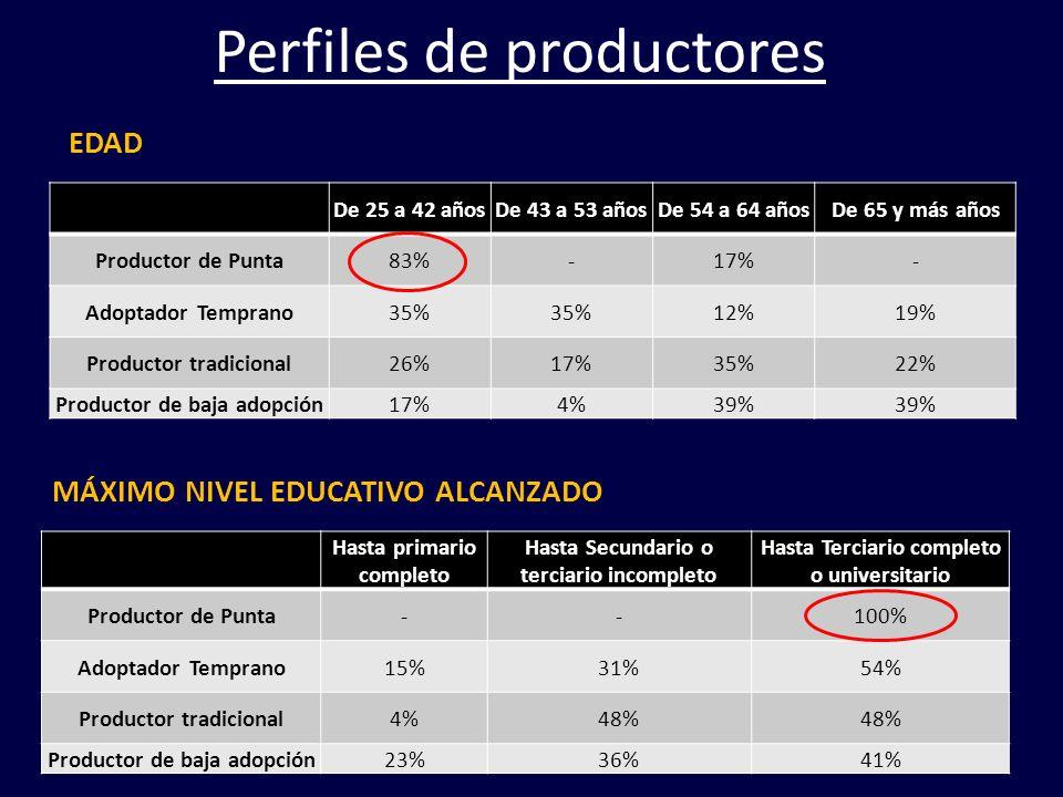 De 25 a 42 añosDe 43 a 53 añosDe 54 a 64 añosDe 65 y más años Productor de Punta83%-17%- Adoptador Temprano35% 12%19% Productor tradicional26%17%35%22