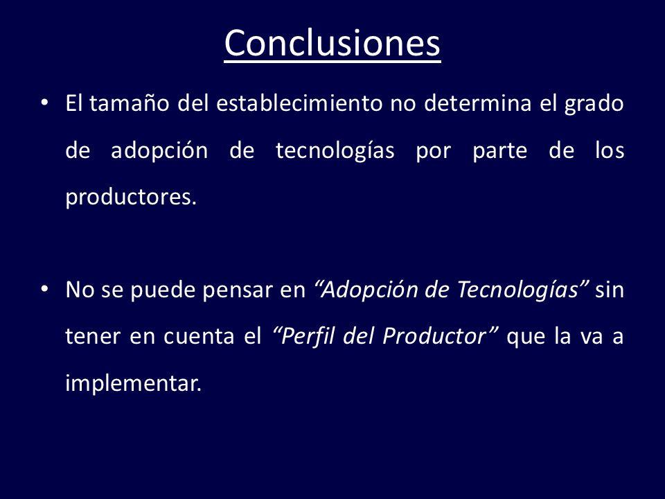 Conclusiones El tamaño del establecimiento no determina el grado de adopción de tecnologías por parte de los productores. No se puede pensar en Adopci