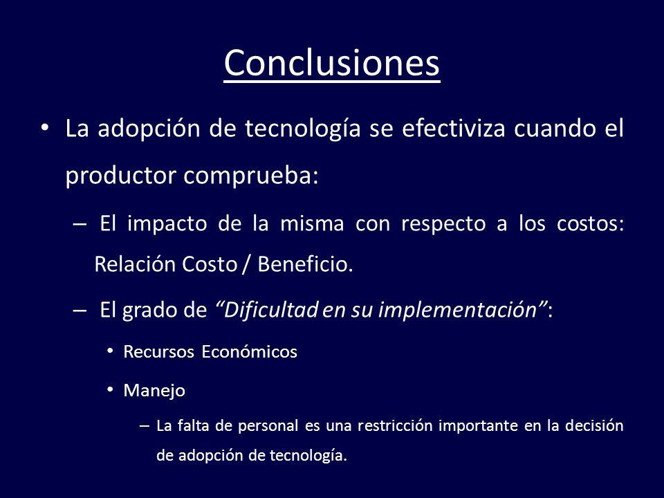 Conclusiones La adopción de tecnología se efectiviza cuando el productor comprueba: – El impacto de la misma con respecto a los costos: Relación Costo