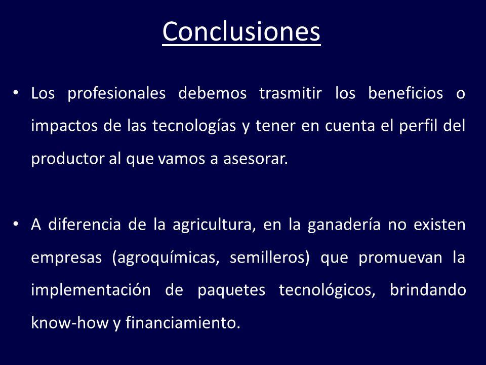Conclusiones Los profesionales debemos trasmitir los beneficios o impactos de las tecnologías y tener en cuenta el perfil del productor al que vamos a