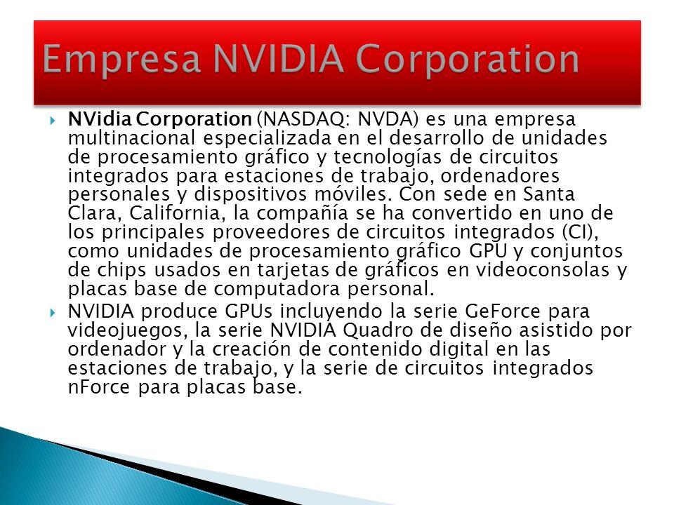 NVidia Corporation (NASDAQ: NVDA) es una empresa multinacional especializada en el desarrollo de unidades de procesamiento gráfico y tecnologías de ci