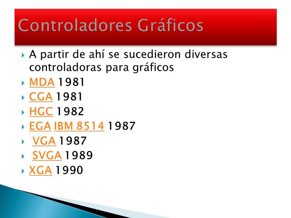 A partir de ahí se sucedieron diversas controladoras para gráficos MDA 1981 MDA CGA 1981 CGA HGC 1982 HGC EGA IBM 8514 1987 EGAIBM 8514 VGA 1987VGA SV