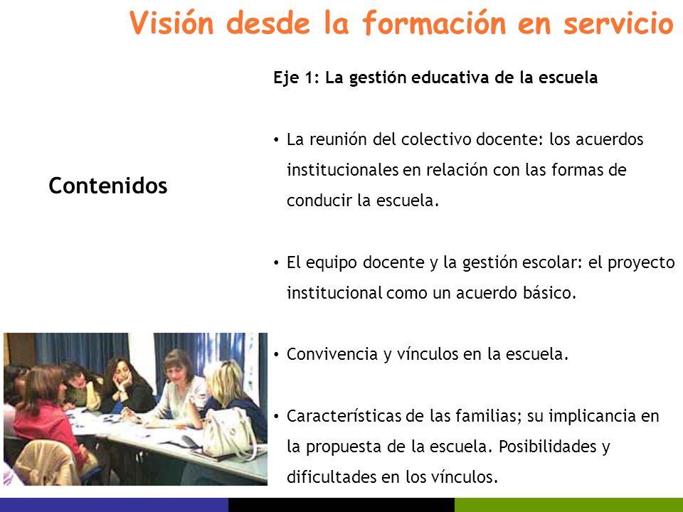 Visión desde la formación en servicio Eje 1: La gestión educativa de la escuela La reunión del colectivo docente: los acuerdos institucionales en rela