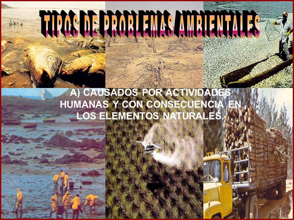 A) CAUSADOS POR ACTIVIDADES HUMANAS Y CON CONSECUENCIA EN LOS ELEMENTOS NATURALES.