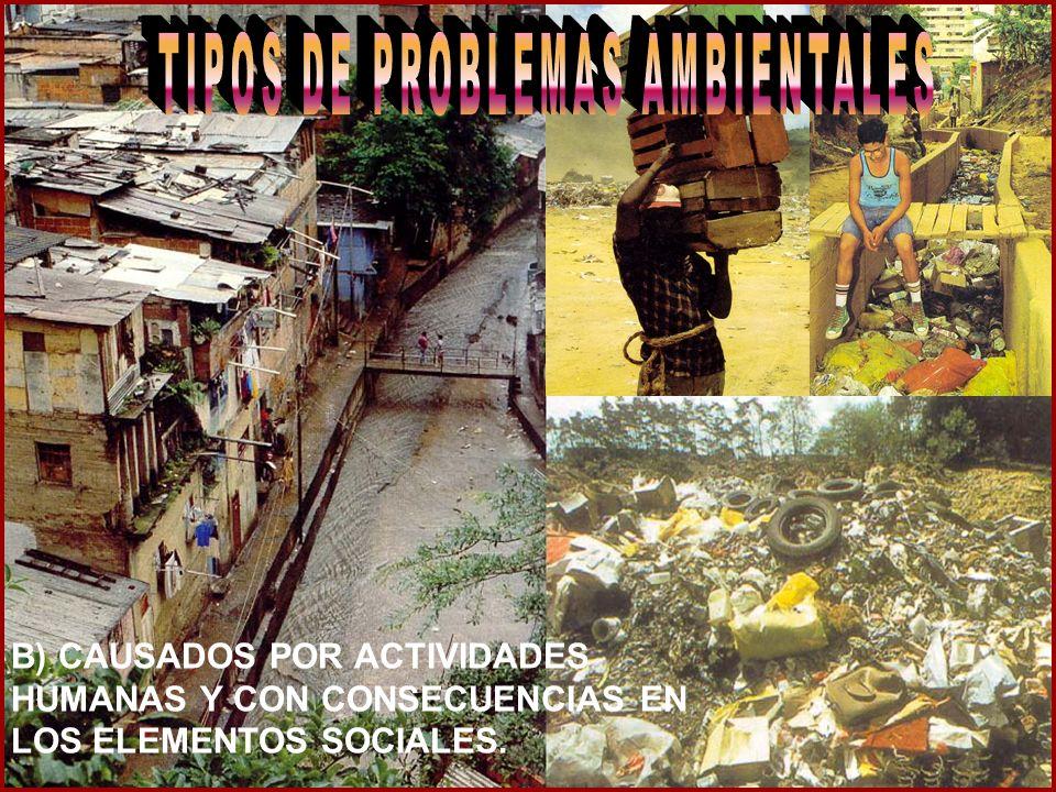 B) CAUSADOS POR ACTIVIDADES HUMANAS Y CON CONSECUENCIAS EN LOS ELEMENTOS SOCIALES.
