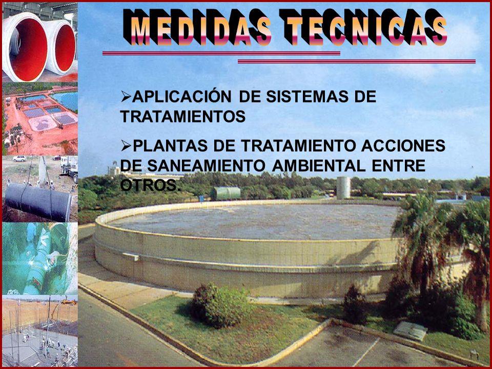 APLICACIÓN DE SISTEMAS DE TRATAMIENTOS PLANTAS DE TRATAMIENTO ACCIONES DE SANEAMIENTO AMBIENTAL ENTRE OTROS.
