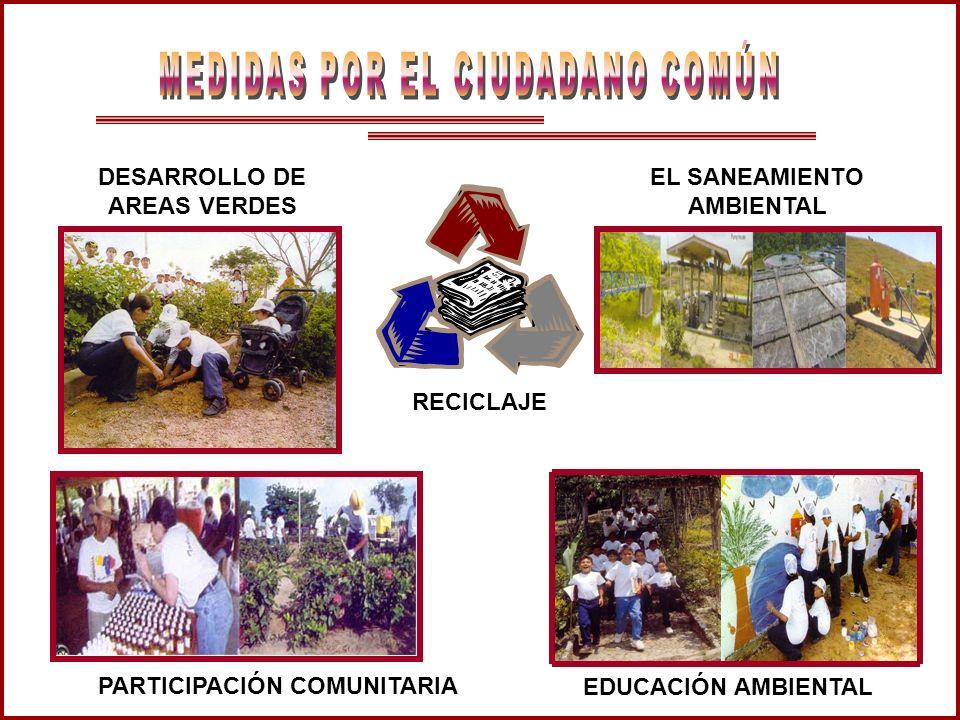 DESARROLLO DE AREAS VERDES EL SANEAMIENTO AMBIENTAL PARTICIPACIÓN COMUNITARIA RECICLAJE EDUCACIÓN AMBIENTAL