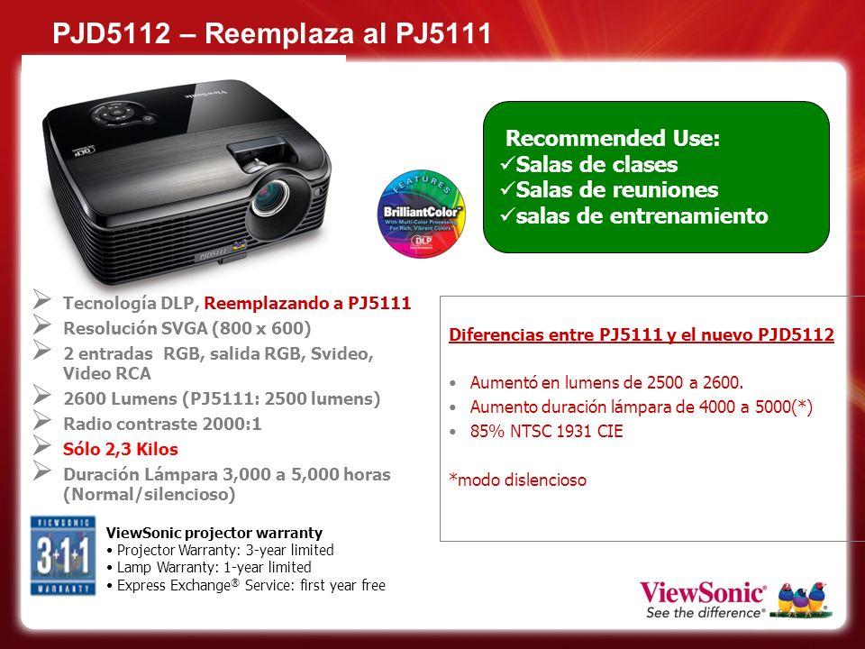PJD5112 – Reemplaza al PJ5111 Recommended Use: Salas de clases Salas de reuniones salas de entrenamiento ViewSonic projector warranty Projector Warran