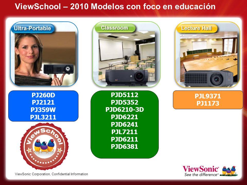 ViewSonic Corporation, Confidential Information ViewSchool – 2010 Modelos con foco en educación PJD5112 PJD5352 PJD6210-3D PJD6221 PJD6241 PJL7211 PJD