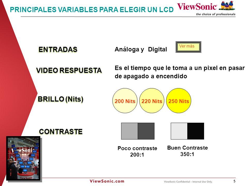 ViewSonic Corporation, Confidential Information 6 RCA Video Compuesto Super Video Video por Componentes RGB - PC DVI - Digital HDMI Los conectores DVI se clasifican en tres tipos en función de qué señales admiten: DVI-D (sólo digital) DVI-A (sólo analógica) DVI-I (digital y analógica) CLASES DE ENTRADAS Ver más