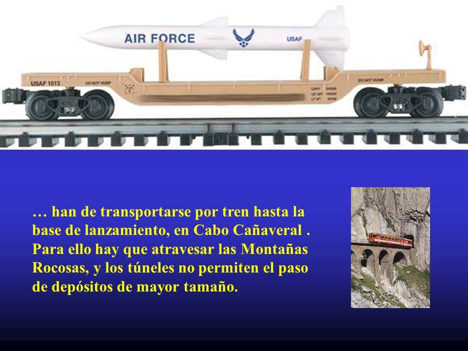 … han de transportarse por tren hasta la base de lanzamiento, en Cabo Cañaveral.