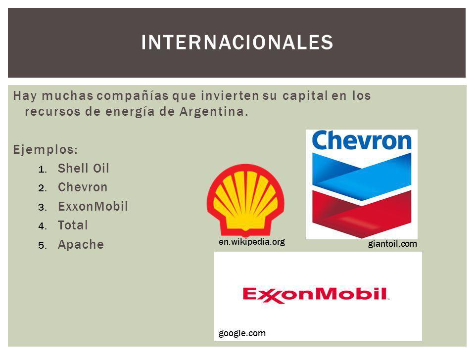 INTERNACIONALES Hay muchas compañías que invierten su capital en los recursos de energía de Argentina. Ejemplos: 1. Shell Oil 2. Chevron 3. ExxonMobil