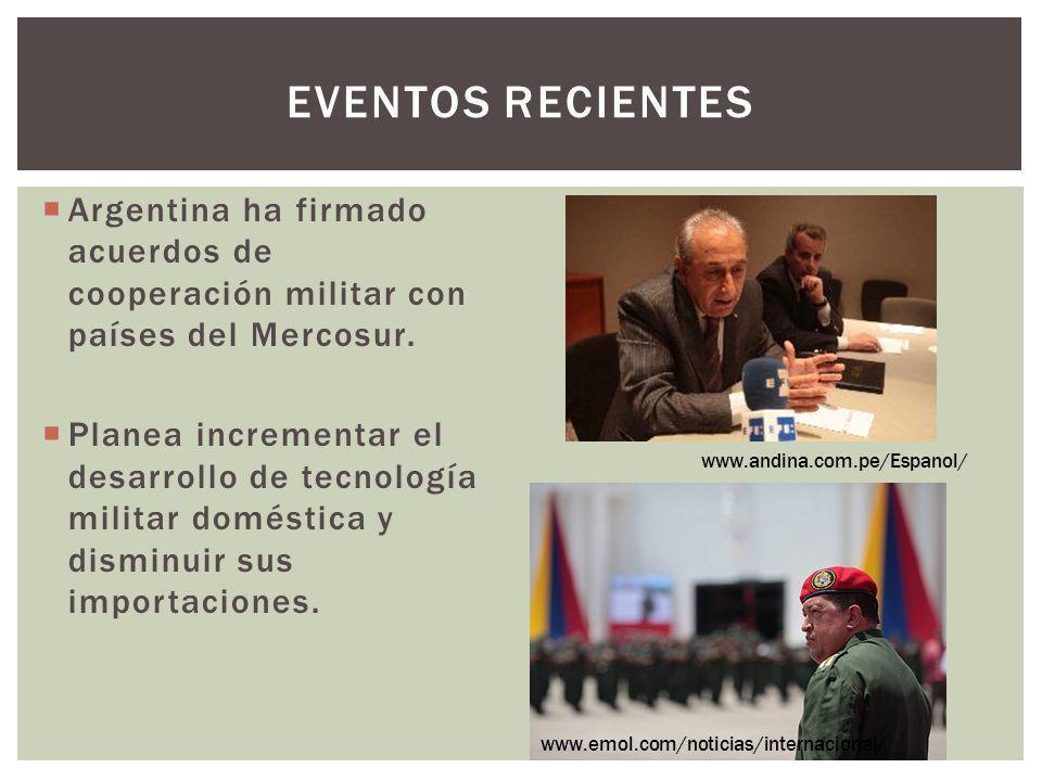 EVENTOS RECIENTES Argentina ha firmado acuerdos de cooperación militar con países del Mercosur. Planea incrementar el desarrollo de tecnología militar