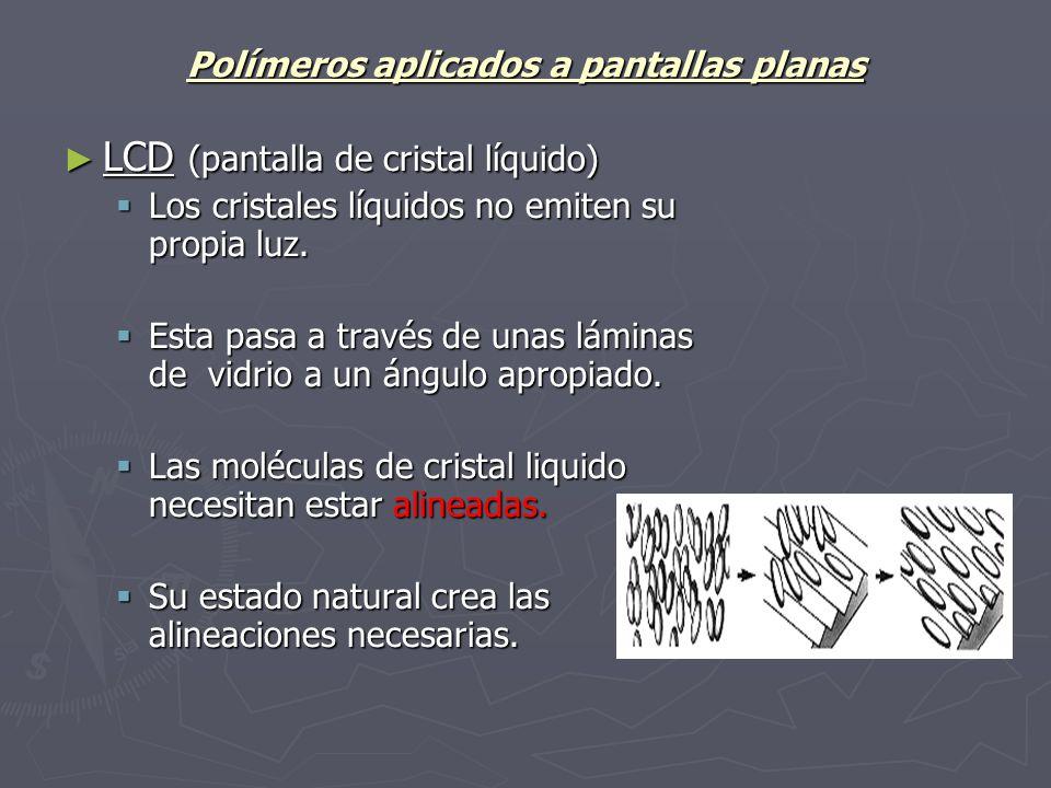 Polímeros aplicados a pantallas planas LCD (pantalla de cristal líquido) LCD (pantalla de cristal líquido) Los cristales líquidos no emiten su propia