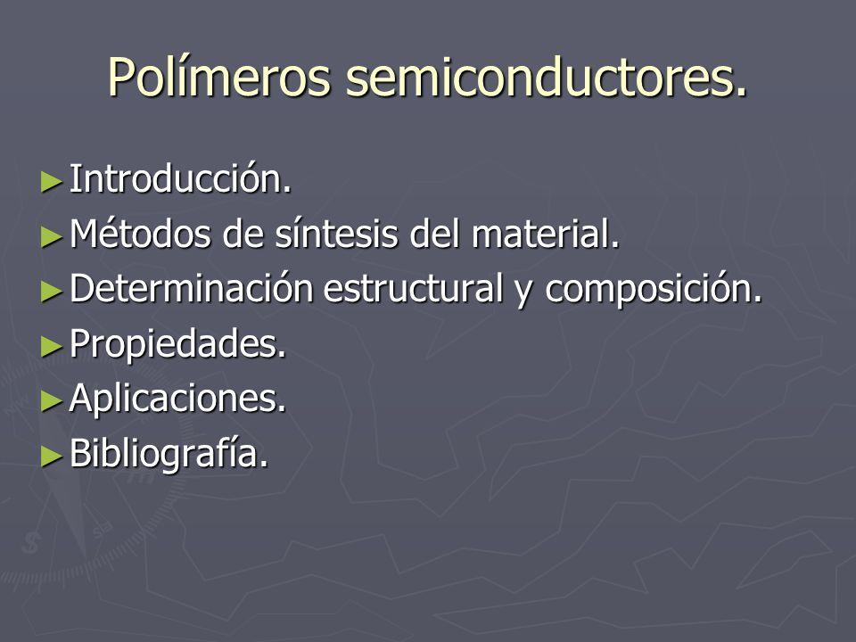 Polímeros semiconductores. Introducción. Introducción. Métodos de síntesis del material. Métodos de síntesis del material. Determinación estructural y