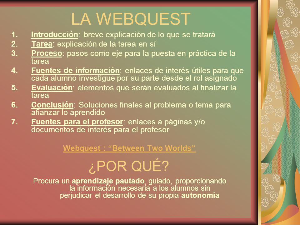 LA WEBQUEST 1.Introducción: breve explicación de lo que se tratará 2.Tarea: explicación de la tarea en sí 3.Proceso: pasos como eje para la puesta en