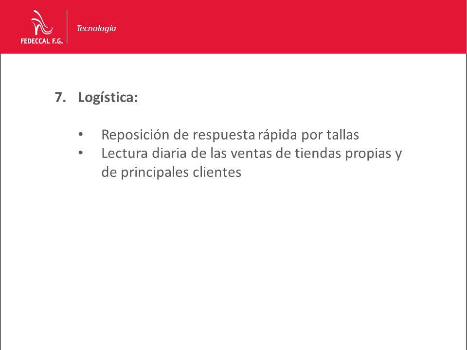 Tecnología 7.Logística: Reposición de respuesta rápida por tallas Lectura diaria de las ventas de tiendas propias y de principales clientes