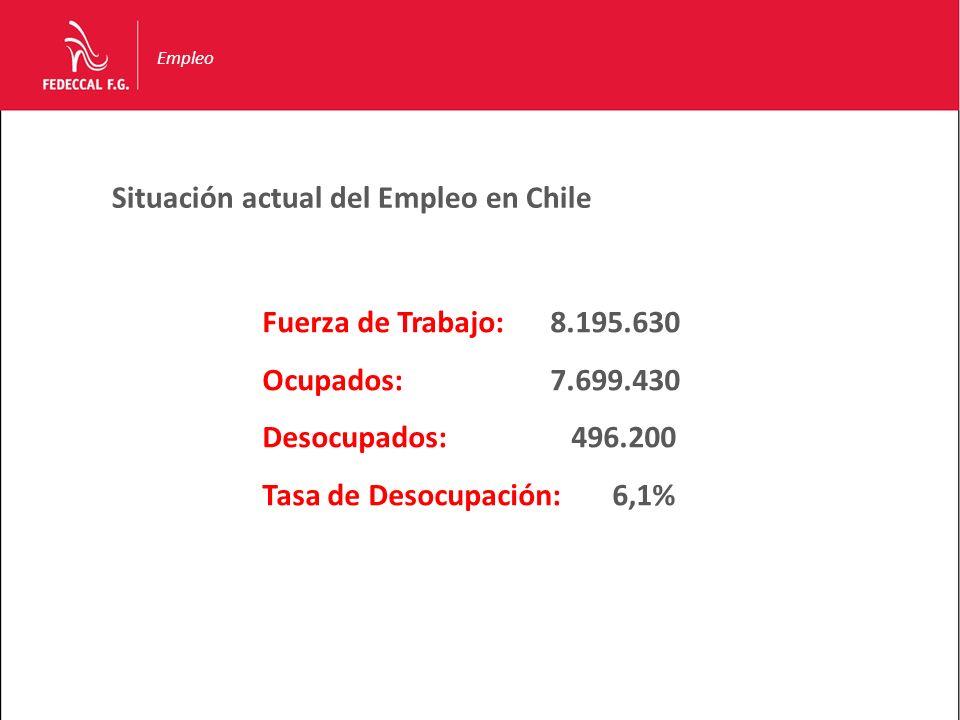 Situación actual del Empleo en Chile Fuerza de Trabajo:8.195.630 Ocupados:7.699.430 Desocupados: 496.200 Tasa de Desocupación: 6,1% Empleo