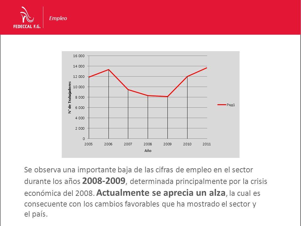Empleo Se observa una importante baja de las cifras de empleo en el sector durante los años 2008-2009, determinada principalmente por la crisis económ