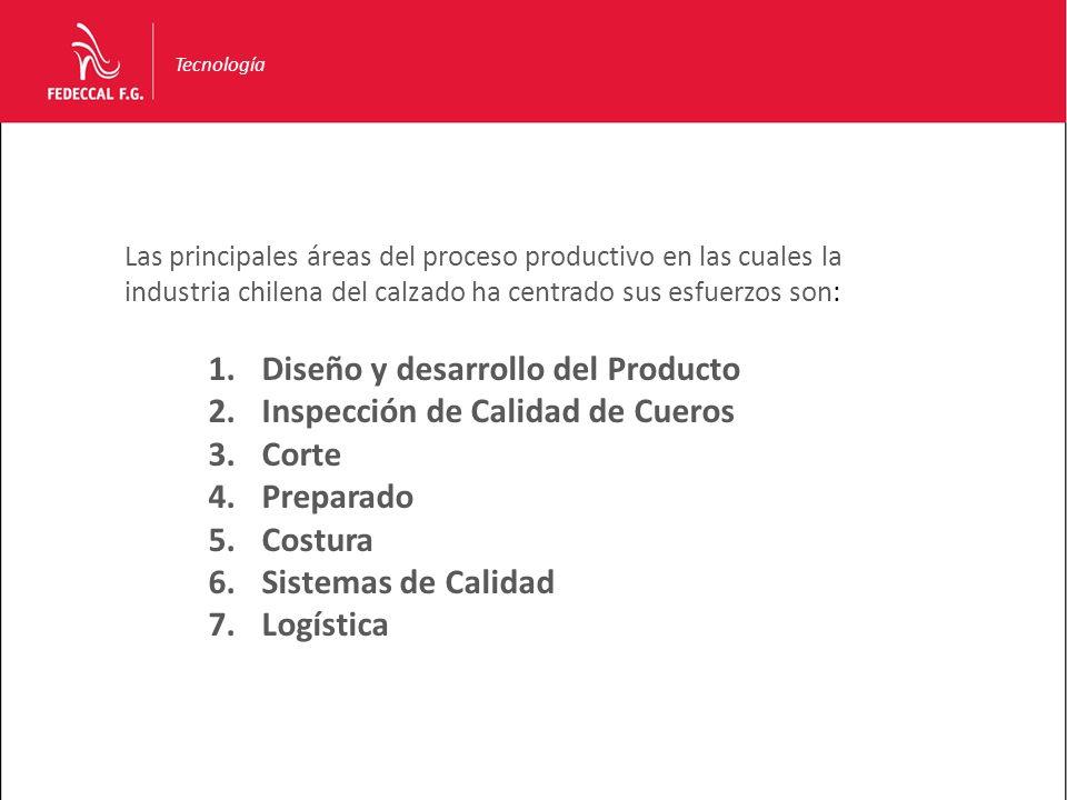 Tecnología Las principales áreas del proceso productivo en las cuales la industria chilena del calzado ha centrado sus esfuerzos son: 1.Diseño y desar