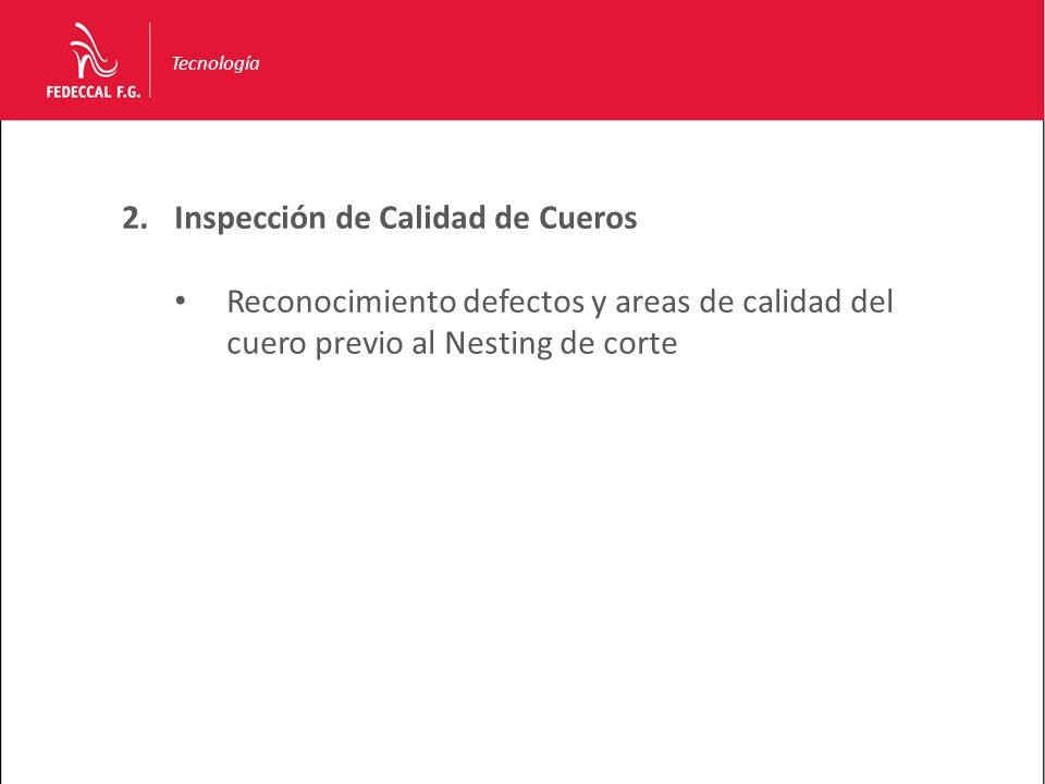 Tecnología 2.Inspección de Calidad de Cueros Reconocimiento defectos y areas de calidad del cuero previo al Nesting de corte
