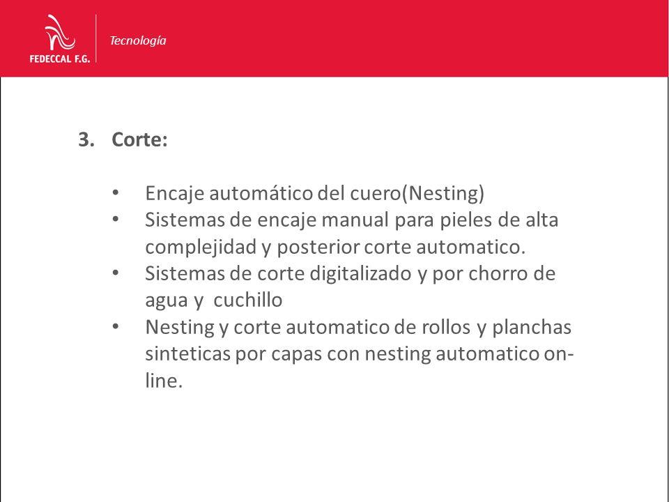 Tecnología 3.Corte: Encaje automático del cuero(Nesting) Sistemas de encaje manual para pieles de alta complejidad y posterior corte automatico. Siste