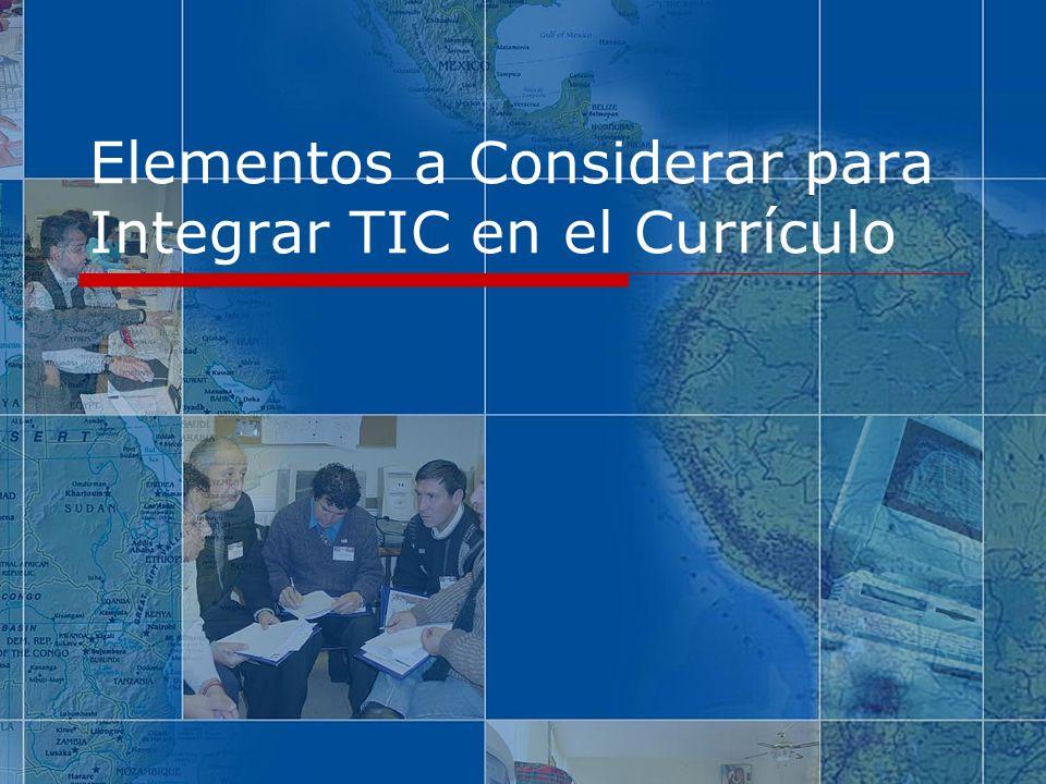 Contenidos Acceso a tecnologías La Necesidad de Integrar Resultados de Investigaciones Barreras para usar tecnología Elementos a Considerar para Integrar Tecnología en el Currículo