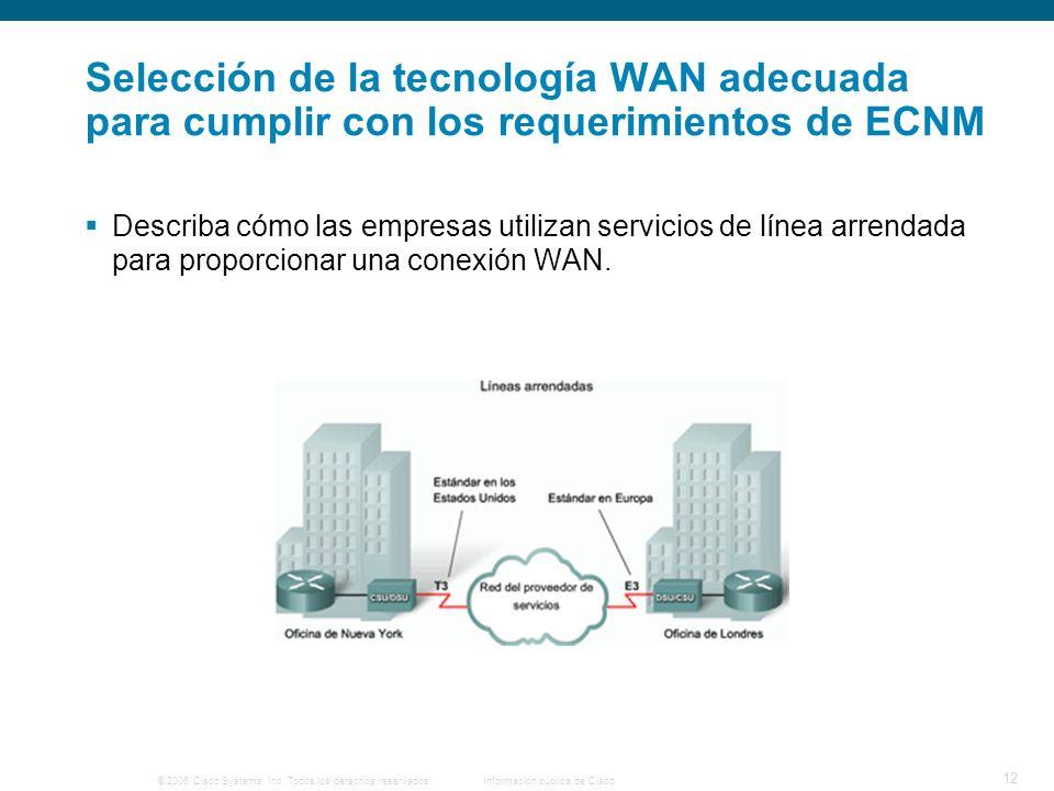 © 2006 Cisco Systems, Inc. Todos los derechos reservados.Información pública de Cisco 12 Selección de la tecnología WAN adecuada para cumplir con los