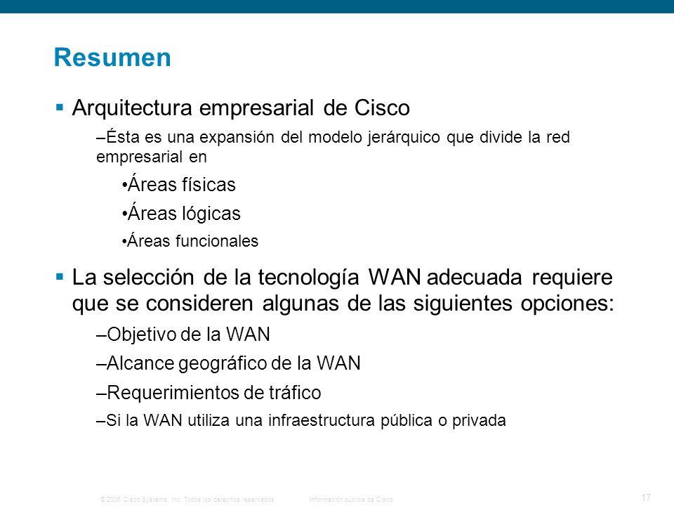 © 2006 Cisco Systems, Inc. Todos los derechos reservados.Información pública de Cisco 17 Resumen Arquitectura empresarial de Cisco –Ésta es una expans