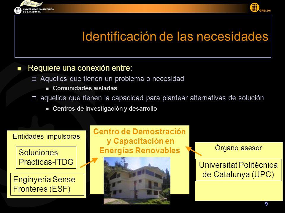 9 Órgano asesor Entidades impulsoras Identificación de las necesidades Enginyeria Sense Fronteres (ESF) Soluciones Prácticas-ITDG Centro de Demostraci